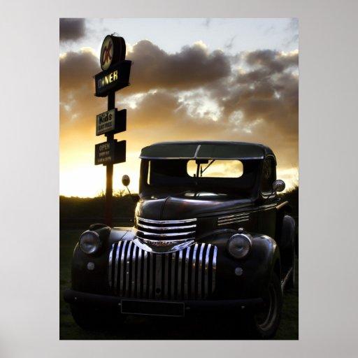 Poster/impresión viejos del camión de Chevy