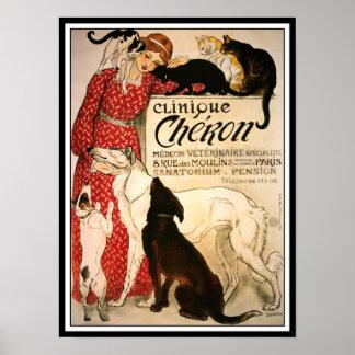 Poster impresión Vintage Steinlen clínica Cheron