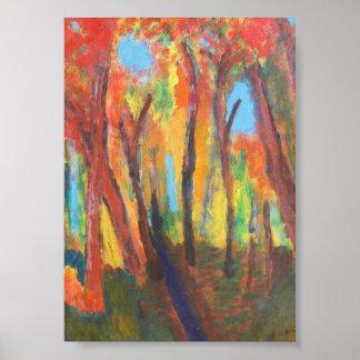Poster impresionista de la escena del bosque del o