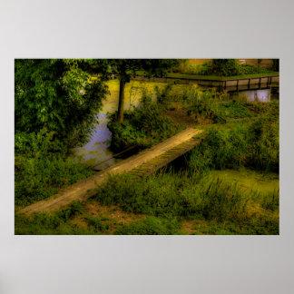 poster improvisado paisaje rural del puente