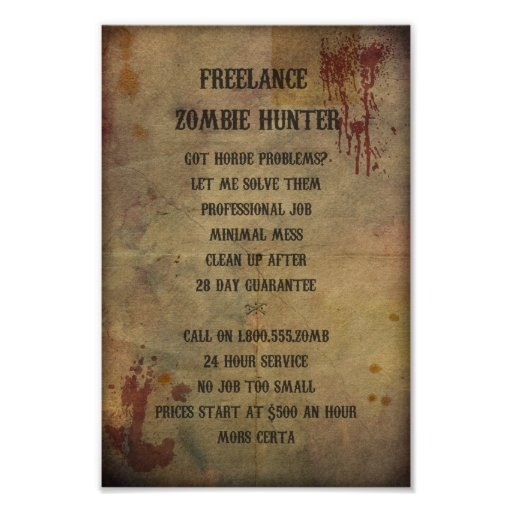 Poster independiente del cazador del zombi