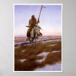 Poster indio del arte del vintage del nativo ameri