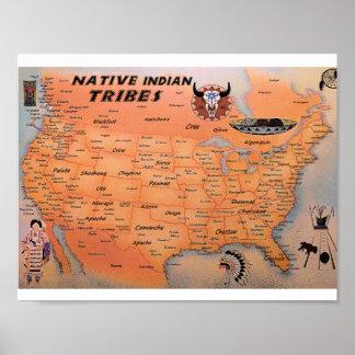 Poster indio nativo del mapa de las tribus