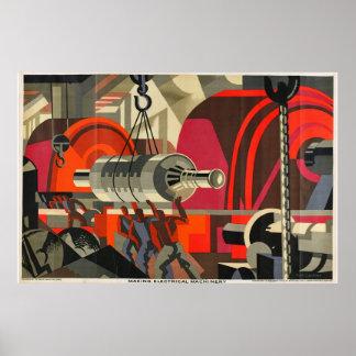 poster industrial de la maquinaria eléctrica