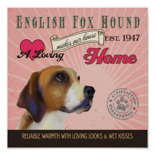 Poster inglés del arte del perro de caza del Fox