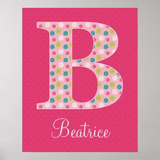 Poster inicial del alfabeto de la letra B para el