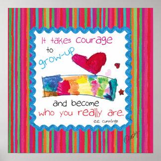 Poster inspirado con el arte del niño de un corazó