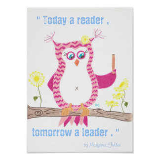 Poster inspirado de la sala de clase del búho rosa