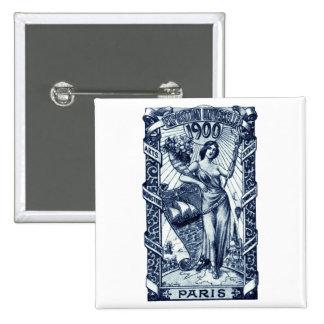 Poster internacional 1900 de la expo de París Pin Cuadrado