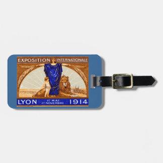 Poster internacional 1914 de la expo de Lyon Etiquetas De Maletas