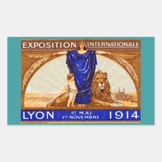 Poster internacional 1914 de la expo de Lyon Pegatina Rectangular