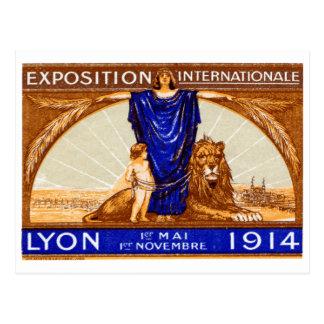 Poster internacional 1914 de la expo de Lyon Postales