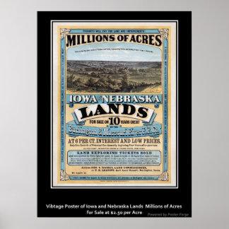 Poster Iowa del vintage/venta de la tierra de Nebr