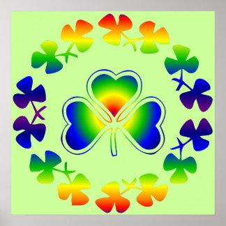 Poster irlandés afortunado del arco iris del trébo