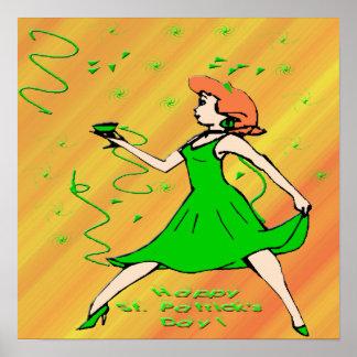 Poster irlandés de la muchacha del día de St Póster