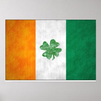 Poster irlandés del trébol de la bandera