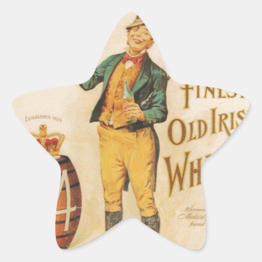 Poster irlandés del whisky de Cowan del vintage Calcomanías Forma De Estrellaes Personalizadas