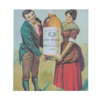 Poster irlandés del whisky del vintage original, blocs de papel