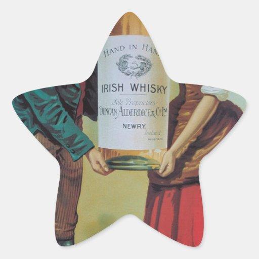 Poster irlandés del whisky del vintage original, calcomanía cuadrada