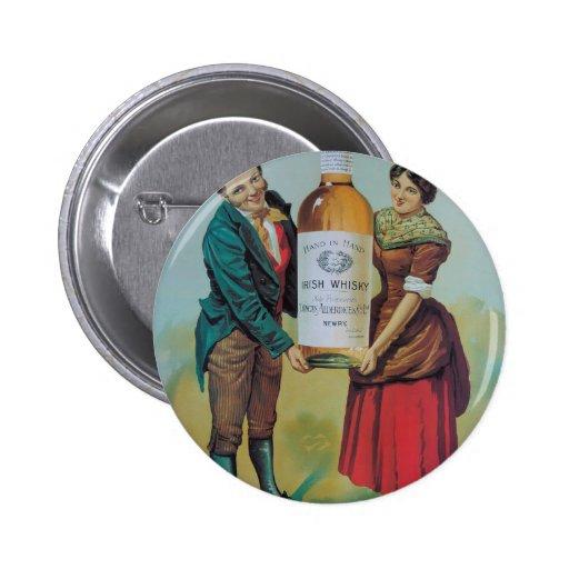 Poster irlandés del whisky del vintage original, pin