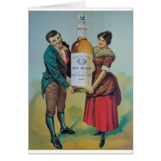 Poster irlandés del whisky del vintage original, tarjeta de felicitación