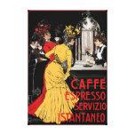 Poster italiano antiguo del anuncio del café expre lienzo envuelto para galerias