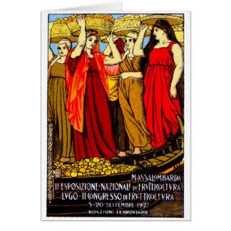 Poster italiano de 1927 cultivadores de fruta tarjeta de felicitación