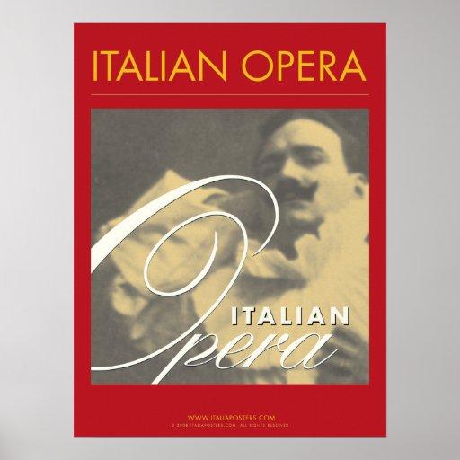 Poster italiano de Enrico Caruso de la ópera