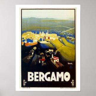 Poster italiano del viaje de Bérgamo de los años 2