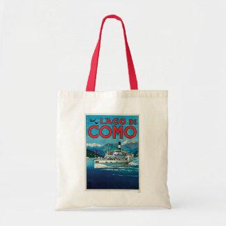Poster italiano del viaje de Lago di Como Vintage Bolsas De Mano