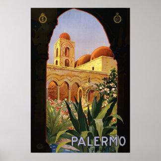 Poster italiano del viaje de Palermo Sicilia ENIT