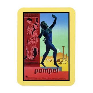 Poster italiano del viaje de Pompeya del vintage Imán