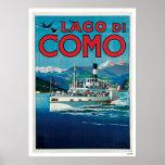 "Poster italiano del viaje del vintage de ""Lago di"
