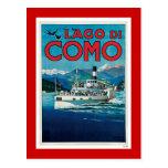 """Poster italiano del viaje del vintage de """"Lago di Tarjetas Postales"""