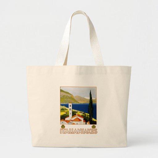 Poster italiano del viaje del vintage de los lagos bolsa