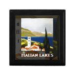 Poster italiano del viaje del vintage de los lagos joyero cuadrado pequeño