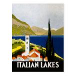 Poster italiano del viaje del vintage de los lagos postal