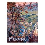 Poster italiano del viaje del vintage de Merano Postal