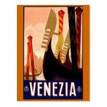 """Poster italiano del viaje del vintage de """"Venecia"""" Postales"""