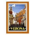 """Poster italiano del viaje del vintage de """"Verona"""" Tarjeton"""