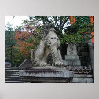 Poster japonés de la estatua del templo del león d