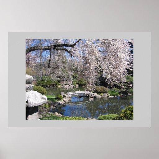 Poster japonés de la fotografía del jardín