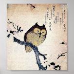 Poster japonés de la impresión del búho
