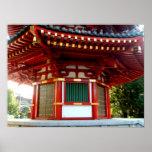Poster japonés de la pagoda del templo