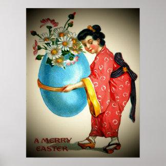 Poster japonés de la señora del vintage y del huev