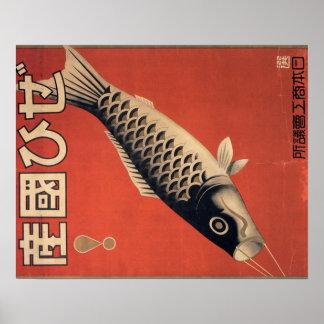 Poster japonés de los pescados del vintage