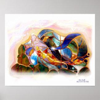 Poster japonés del arte de los pescados de cristal