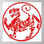 Poster japonés del karate del tigre del sol nacien