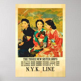 poster japonés del viaje de la línea de cruceros