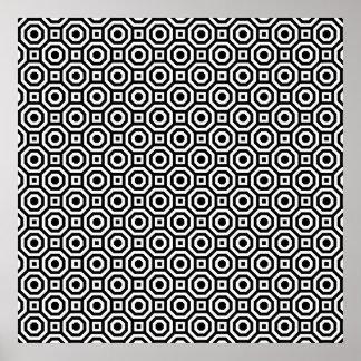 Poster jerarquizado blanco y negro del octágono